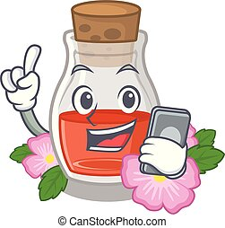 With phone rosehip seed oil in cartoon bottle vector ...