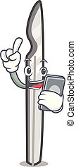 With phone scalpel character cartoon style
