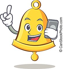 With phone school bell character cartoon