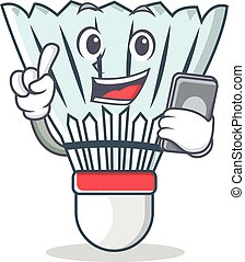 With phone shuttlecock character cartoon vector