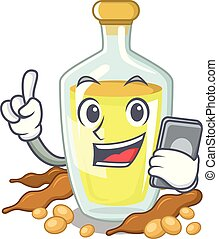 With phone soybean oil put in cartoon bottle