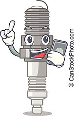 With phone spark plug in the character shape