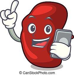 With phone spleen character cartoon style