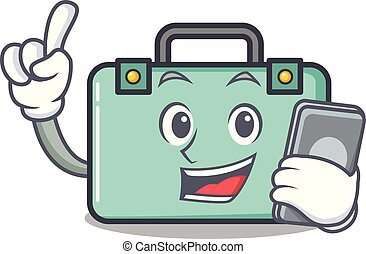 With phone suitcase character cartoon style