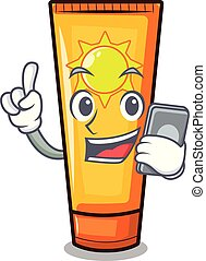 With phone sun cream in the mascot shape vector illustration
