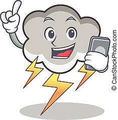With phone thunder cloud character cartoon