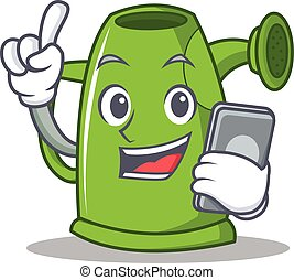 With phone watering can character cartoon