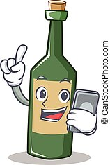 With phone wine bottle character cartoon
