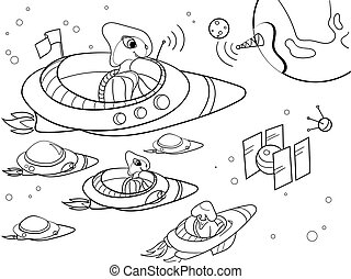 With planets space coloring vector for adults - Space with...