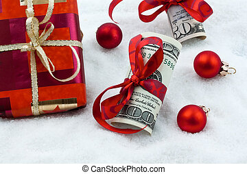with ribbon as a gift of money