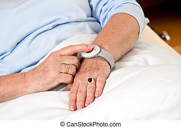 with senior emergency phone call hile in bed - help a senior...
