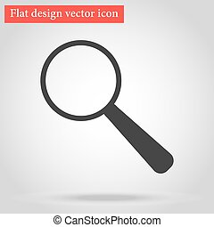 with shadow magnifying glass icon gray flat design