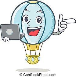 With sign air balloon character cartoon