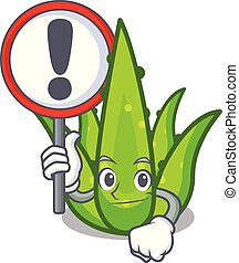 With sign aloevera character cartoon style