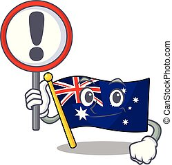 With sign australian flag clings to cartoon wall