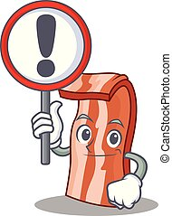 With sign bacon character cartoon style vector illustration