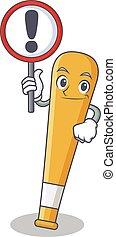 With sign baseball bat character cartoon