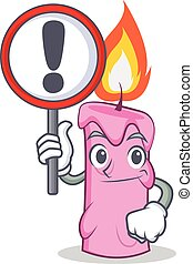 With sign candle character cartoon style vector illustration