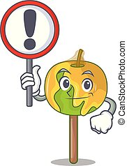 With sign candy apple character cartoon