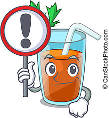 With sign character healthy carrot smoothie for diet