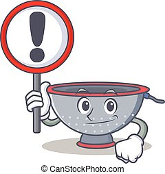 With sign colander utensil character cartoon