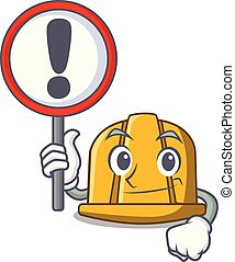 With sign construction helmet character cartoon
