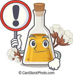 With sign cottonseed oil in a mascot bottle vector ...