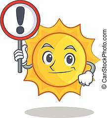 With sign cute sun character cartoon