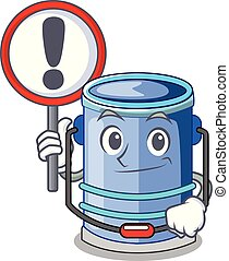With sign cylinder bucket Cartoon of for liquid