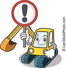 With sign excavator character cartoon style