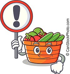 With sign fruit basket character cartoon