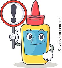 With sign glue bottle character cartoon