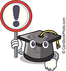 With sign graduation hat character cartoon
