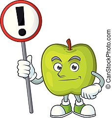 With sign granny smith in a green apple character mascot