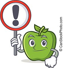 With sign green apple character cartoon