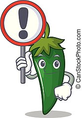 With sign green chili character cartoon