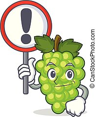 With sign green grapes character cartoon