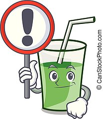 With sign green smoothie character cartoon