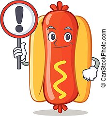 With sign Hot Dog Cartoon Character