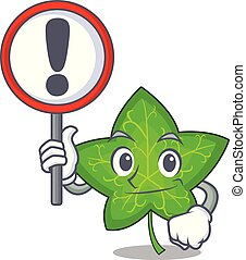 With sign ivy leaf isolated on character cartoon