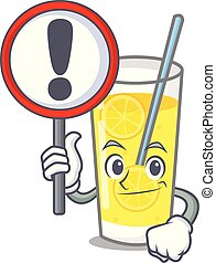 With sign lemonade character cartoon style
