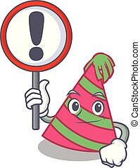 With sign party hat character cartoon vector illustration
