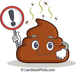 With sign Poop emoticon character cartoon
