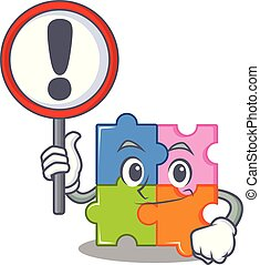 With sign puzzle character cartoon style