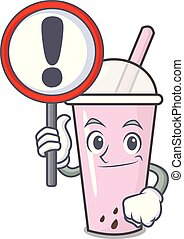With sign raspberry bubble tea character cartoon