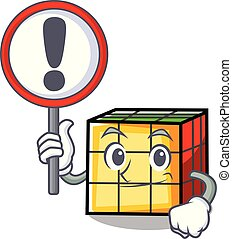 With sign rubik cube character cartoon