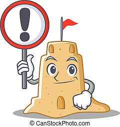 With sign sandcastle character cartoon style