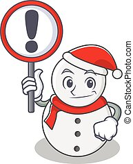 With sign snowman character cartoon style