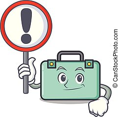 With sign suitcase character cartoon style