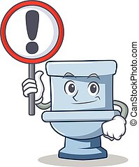 With sign toilet character cartoon style